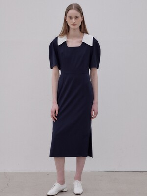 Point collar volume sleeve dress SW0MO006-24