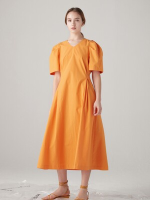 V-neck volume dress - Tangerine