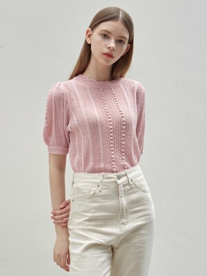 LACE PUFF HALF KNIT_LIGHT PINK