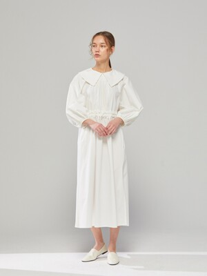 DEMERE ROUNDING-COLLAR BELTED DRESS (IVORY)