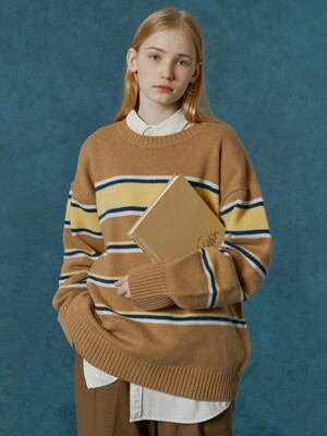 Small original logo stripe knit-camel