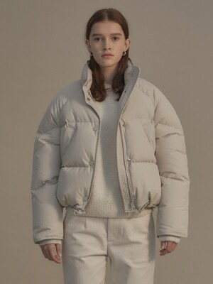 Cropped string puffer jacket (White fog)