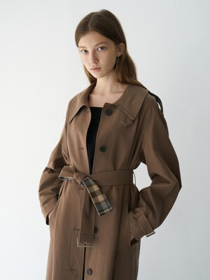 21' Spring_Brown A-Line Single Trench Coat
