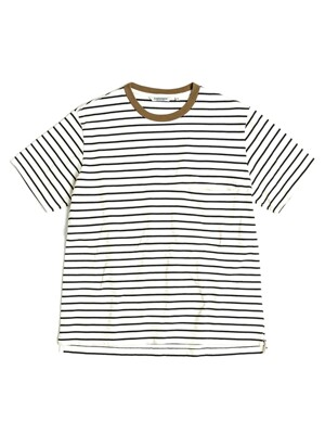ONE POCKET BORDER T-SHIRT / ECRU & BLACK