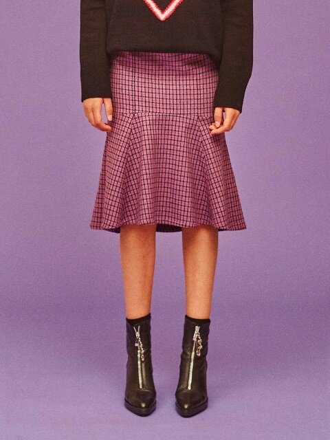 MERMAID CHECK SKIRT_PURPLE (EEOE4SKR03W)