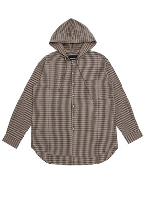 UNISEX OVERFIT CHECK HOOD SHIRTS BROWN