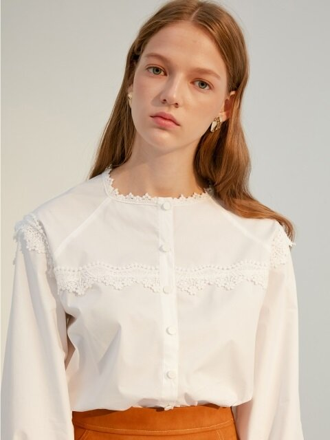 comos'49 square-neck lace blouse (white)