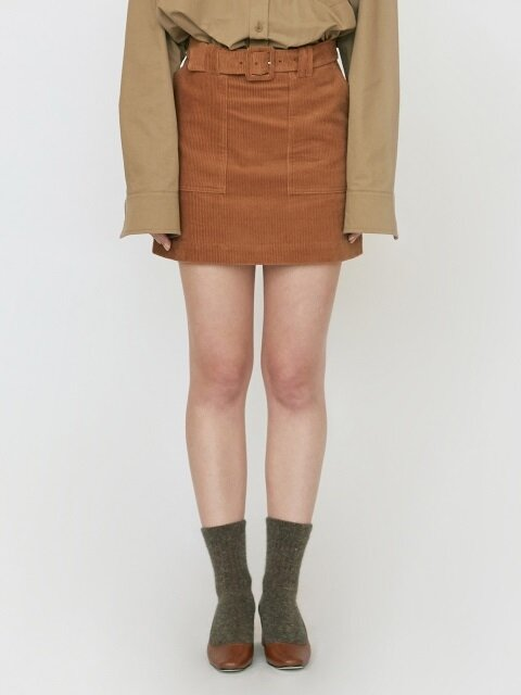 18FW CORDUROY MINI SKIRT - TAN