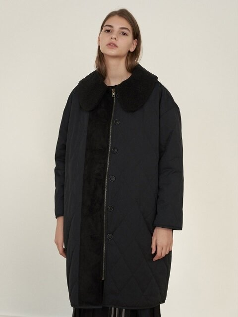 REVERSIBLE FUR COAT BLACK