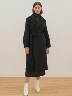 Belted Ballon Coat - Black