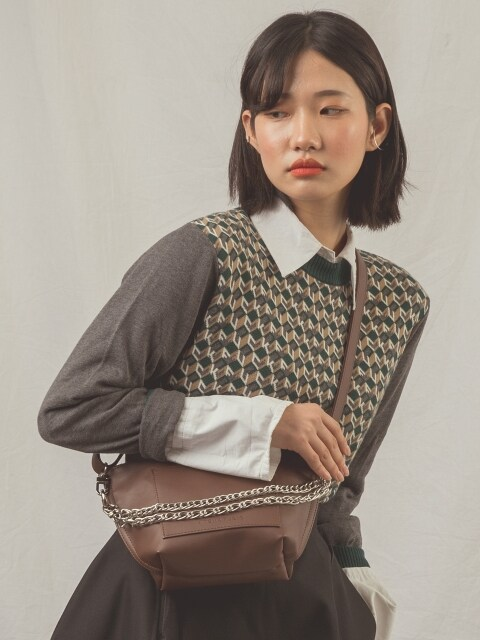 RAY chain shoulder bag (brown)