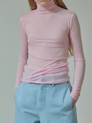 TS91TW01 SLIMFIT TURTLE NECK T SHEER PINK