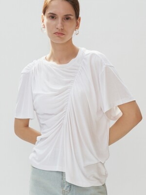 UNBALANCE SHIRRING T-SHIRTS (white)