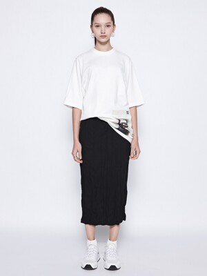 Washing Pleats Long Skirt (BK)