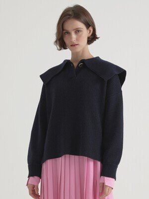 Cashmere blended sailor pullover - Navy