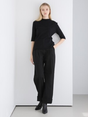 SIMPLE TWO TUCK PANTS BLACK