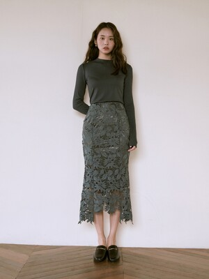 [SET]FIF LONG SLEEVE DEEP GREEN+SENTIMENTAL SKIRT KHAKI