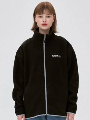 FLEECE  ZIP-UP JACKET / black