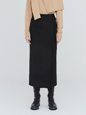 19FW POCKET DETAIL LONG SKIRT - BLACK
