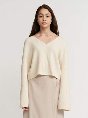 V-NECK KNIT CREWNECK WOMEN [IVORY]