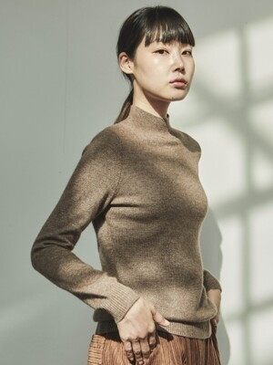 CASHMERE HALF TURTLENECK BROWN KNIT