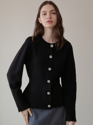 comos'293 puff peplum knit cardigan (black)