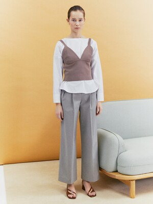 [Classy Cotton] Cotton Two Tuck Wide-leg Trousers