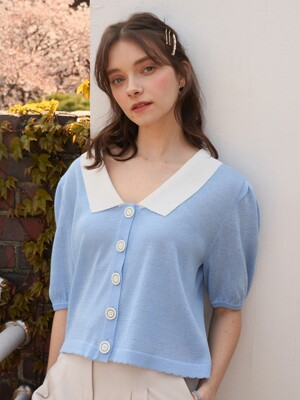 monts 1098 puff collar cardigan (sky blue)