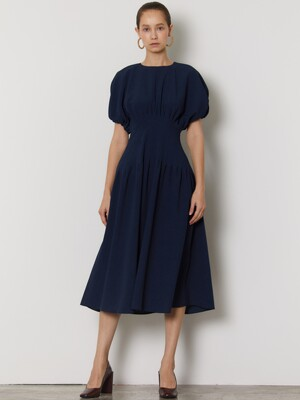 SHIRRING PINTUCK DRESS_NAVY
