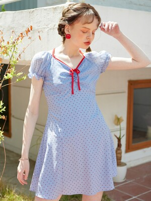 Ribbon Point Mini Dress_ Blue