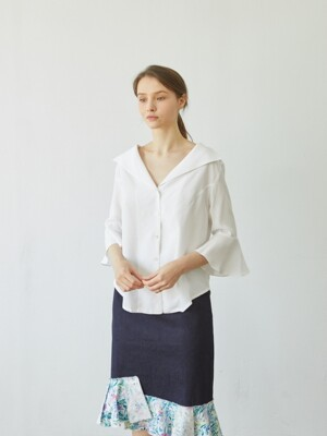 Flare Sleeve Blouse_WHITE