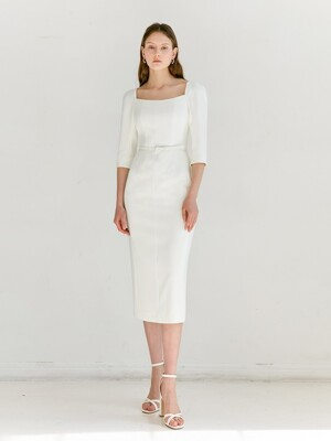 ODETTE Square neck Three-quarter Sleeve H-line midi dress (Off White)