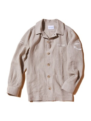 SEA MEN LINEN SHIRTS JACKET BEIGE