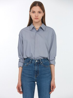 UNISEX CREASE SOFT SHIRT GREYISH BLUE_UDSH0F102B5