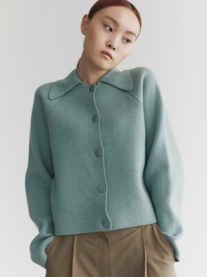 20AU KNIT CROP CARDIGAN (DEEP MINT)