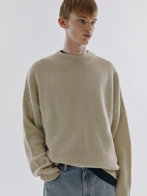 UNISEX FUZZY MOCK-NECK WOOL SWEATER CREAM BEIGE_M_UDSW0F113CR