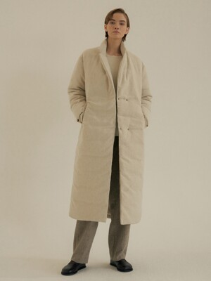 wool linen down coat