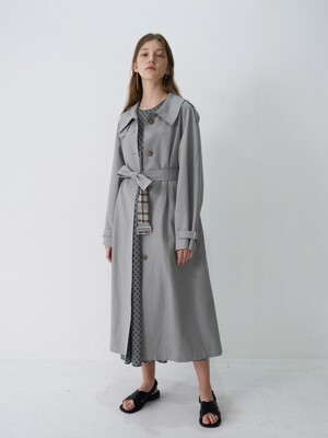 21' Spring_Earthy Blue A-Line Single Trench Coat