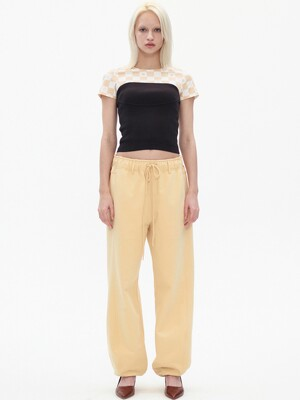 SS ROUNDING TRACK PANTS, LIGHT YELLOW