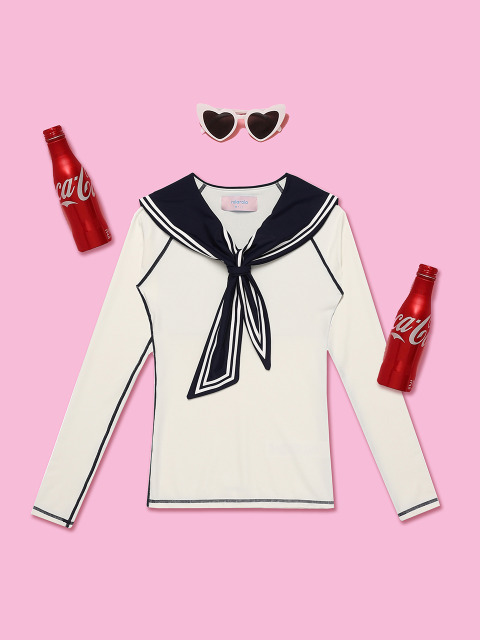 (SW-18382)TIED SAILOR RASHGUARD WHITE