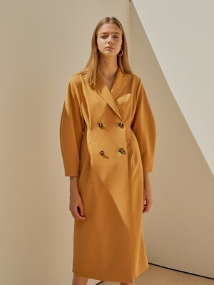 18FW DOUBLE VOLUME DRESS MUSTARD