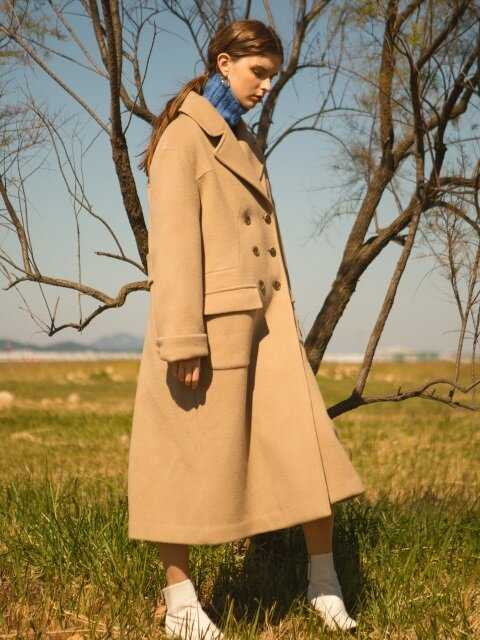 comos'90 wool90% a-line long coat (beige)