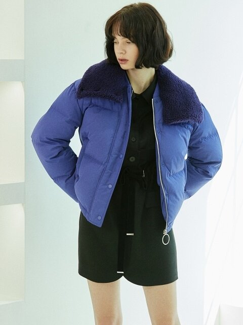 fur detail down jacket Purple