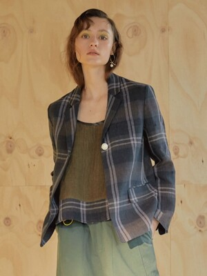 린넨체크 19ss - Vintage Button Jacket - khaki