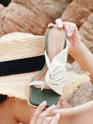 Shirring summer mules Beige