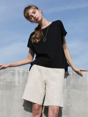 Linen side fold pants_Oatmeal