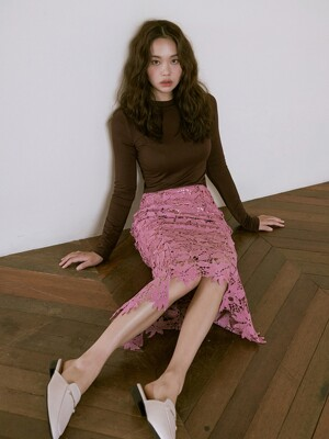 [SET]FIF LONG SLEEVE BROWN+SENTIMENTAL SKIRT INDI PINK