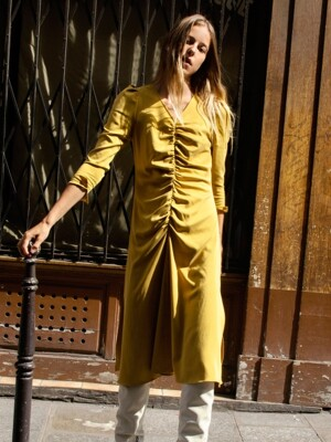 Ruched Flare Dress_Mustard