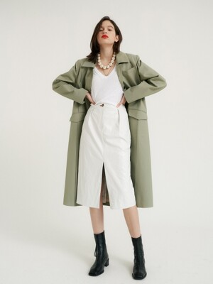 Butter leather crease skirt_White