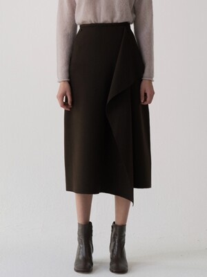 bias skirt (brown)